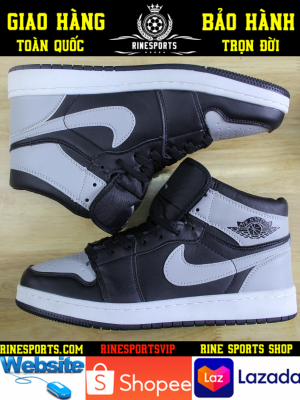 "Giày SNEAKER NIKE Jordan 1 Retro High ""Shadow"" BlackMedium Grey-White"